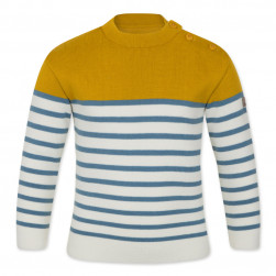Pull marin Tim kid mixte moutarde, écru, bleu