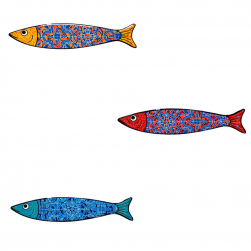 Lot de 3 aimants sardines