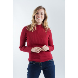 Pull col montant rouge